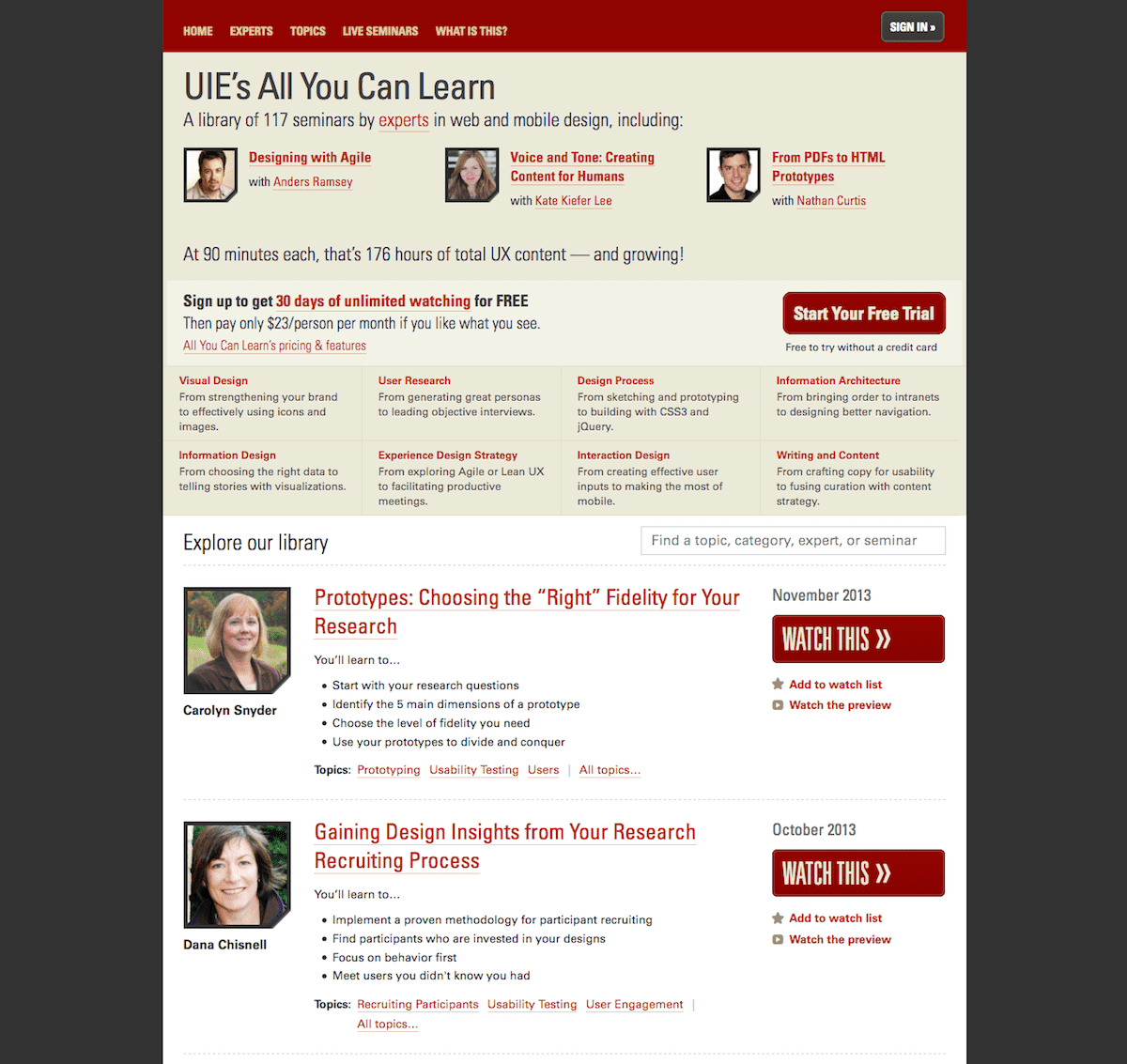 Screenshot of v1 homepage at launch