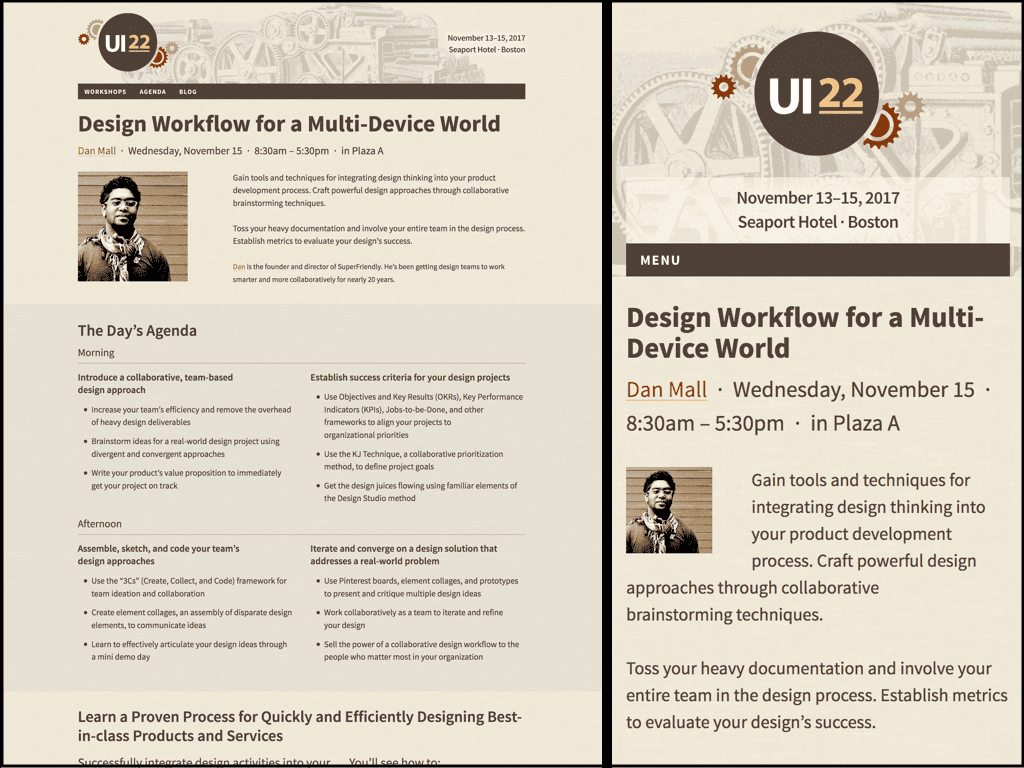 Collage of UI22 Desktop and Mobile Sized Workshop Pages